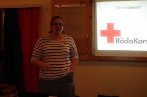 Elin Andersson berättar om  2015 års Jubileumsutställning om Svenska Röda Korset 150 år. FOTO: ROLAND NILSSON
